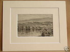 CLARENS LAKE GENEVA ANTIQUE DOUBLE MOUNTED ENGRAVING FROM c1890 PUBLICATION 10X8