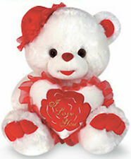 """14"""" White Plush Teddy Bear With Hat & Heart I Love You In Red Flower New 490R"""