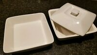 10 Strawberry Street White Casserole Dish + Lid & Vegetable bowl square lot of 3