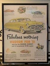 1951 HUDSON HORNET Genuine Vintage Advertisement Art Black Custom Frame w/ Glass