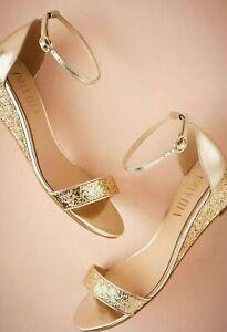 SALE New $150 BHLDN Billy Ella CRISTAL Gold Metallic Glitter Wedges 7 7.5 9 9.5