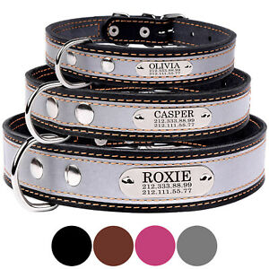 Reflective Dog Collar Personalized Real Leather Collar with Tag Engraved Custom