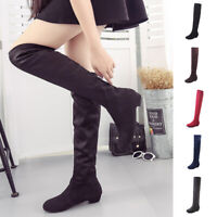 Women Winter Stretch Suede Thigh High Low Heels Over-The-Knee Long Boots Shoes