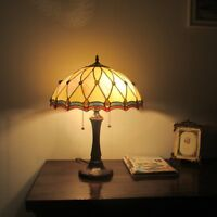 Tiffany Style 2 Bulb Victorian Stained Glass Desk Table Lamp Handcrafted
