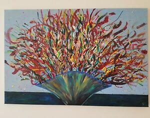 "ORIGINAL VASE WITH COLOR DESIGHN ACRYLIC CANVAS SIGNED PAINTING SIZE 35""x23"""