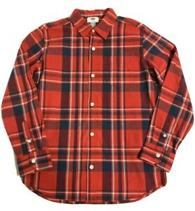 Old Navy Stretch Button Down Shirt Boys size L 10-12 Red Blue Plaid Long Sleeve