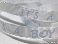 20 M rotolo completo è un ragazzo annuncio nascita 10 mm Nastro in Blu Baby Shower
