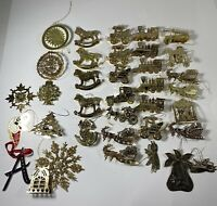 Vintage Thin Gold Brass Lot of 36 Christmas Ornaments
