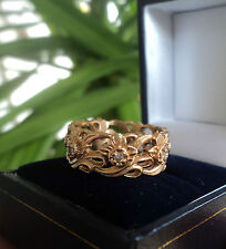 Welsh 14ct Rose Gold & Seven Diamond Daffodil Ring  Stuart Devlin - size M / N