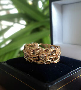 Welsh 14ct Rose Gold & Seven Diamond Daffodil Ring by Stuart Devlin -  size J