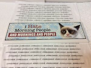 """GRUMPY CAT WOOD SIGN NEW W/TAG """"I HATE MORNING PEOPLE AND MORNINGS AND PEOPLE"""""""