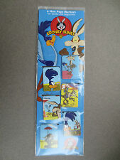 BOOKMARK Looney Tunes 6 Mini Page Markers Roadrunner Wile E Coyote Unused