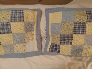 Pillow Shams Standard 2. Blue And Yellow Patchwork.