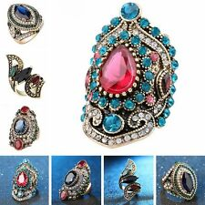 Women Turkish Jewelry Vintage Gold Plated Crystal Resin Big Wedding Rings Gifts