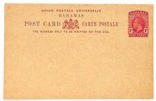 UU485 BAHAMAS KGV Postal Stationery 1d UPU Unused Postcard {samwells-covers}