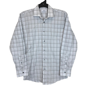Calvin Klein Mens Grey Check Long Sleeve Button Up Slim Fit Shirt Size 40/86