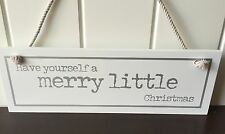 CHRISTMAS  WALL SIGN 'HAVE YOURSELF A MERRY CHRISTMAS DECORATION WHITE SILVER