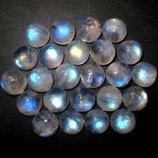A PAIR OF 6mm ROUND CABOCHON-CUT NATURAL INDIAN RAINBOW MOONSTONE GEMS £1 NR!