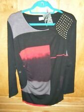 BLACK & RED LONG SLEEVE SZ 14 LONG HIP LENGTH TOP /JUMPER WITH STUDS