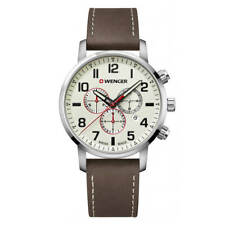Wenger Men's Watch Attitude Chrono Beige Dial Brown Leather Strap 01.1543.105