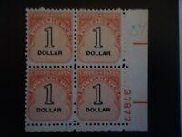 US SCOTT #J100  1959 1 DOLLAR CARMINE POSTAGE DUE MNH OG FVF PLATE BLOCK OF 4