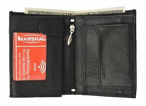 RFID Blocking Premium Leather European Style Bifold Trifold Wallet W/ ID Window