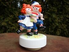The Raggedy Shuffle Hand Painted Raggedy Anne & Andy Music Box by Schmid (1980)