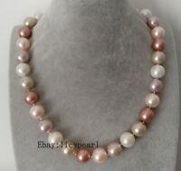 14 mm Mehrfarbig Muschelkernperlen  Halskette, Magnetschnalle, 46 cm