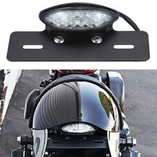 Cafe Racer Motorcycle Rear License Plate Brake Stop Tail Light Black Bracket MT