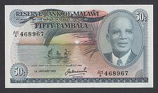 MALAWI  50 Tambala 1983  UNC(-)   P13e   HIGH GRADE BANKNOTE  VERY RARE