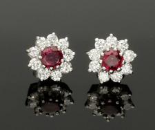 Ottima qualità Rubino & Diamante Orecchini a Perno Cluster