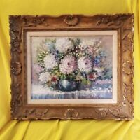 Vintage Oil On Canvas Still Life Of Flowers In A Vase Gold Gilded Frame