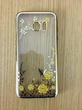 Samsung Galaxy S7 Edge,silicon flower design Case with artificial rhinestone