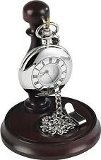 Burleigh Gents Stainless Steel Half Hunter Silver Pocket Watch W/ Chain & Stand