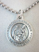 """3/4"""" St Christopher / US Army  Medal Italy Pendant Necklace 24"""" Ball Chain"""