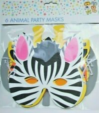 6 x Animal Foam Face Masks Fancy Dress Costume,kids,Jungle Party Bag Fillers. UK