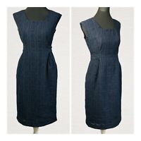 Laura Ashley Weekend Dress Size 14 Navy Square Neck Tie Back Sleeveless Smart