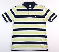 Brooks Brothers Performance Polo Striped Navy Lime Shirt Size Large Mens Rugby