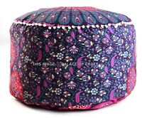 "Indian 24"" Large Peacock Mandala Floor Meditation Footstools Ottoman Pouf Cover"