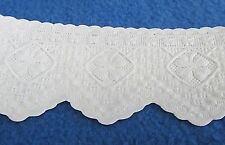 VTG German Paper Lace Embossed Trim White Doily Scallop Edge   Sold BTY  NOS
