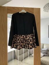 Ladies Black Long Sleeve Peplum Top With Print Frill Size 8-10