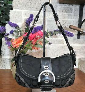 COACH BLACK SIGNATURE SOHO SMALL FLAP HOBO 6171 HOBO HANDBAG BAG SHOULDER PURSE