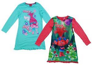 Trolls Girls Nightdress, Princess Poppy Character Dressing Frilled Cotton Nighty