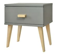 Grey Wooden Night Stand Scandinavian Style Design Pinewood Drawer Pine Bedside