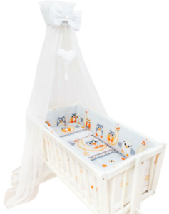 Baby Drape Canopy Mosquito Net with Ribbon ONLY Fits Crib/Cradle Owls moon grey