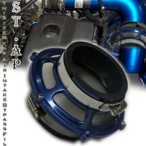 """Universal 2.5"""" 2 1/2 Inch 63Mm Turbo/Cold Air Intake  Bypass Valve Filter Blue"""