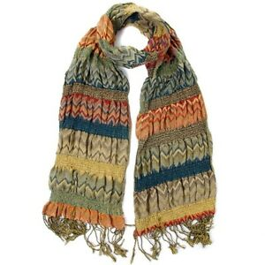 Green & Orange Chevron Weaved Warm Scarf / Hijab / Headscarf / Face Covering