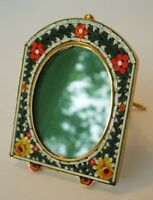 Vintage MICRO MOSAIC Unique Oval Floral Picture Frame ITALIAN Victorian Flower