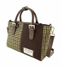 Ladies Authentic Harris Tweed And Leather Panel Bag Brown Dogtooth LB1402 COL 27