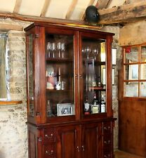 La Roque solid mahogany furniture large glass dresser display cabinet